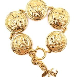 Gold Cc Medallion Pendant Charm Links  Bracelet